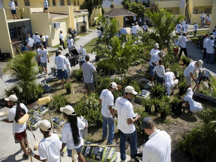 "Participation in another ""Give Day"" providing landscaping in a community project"
