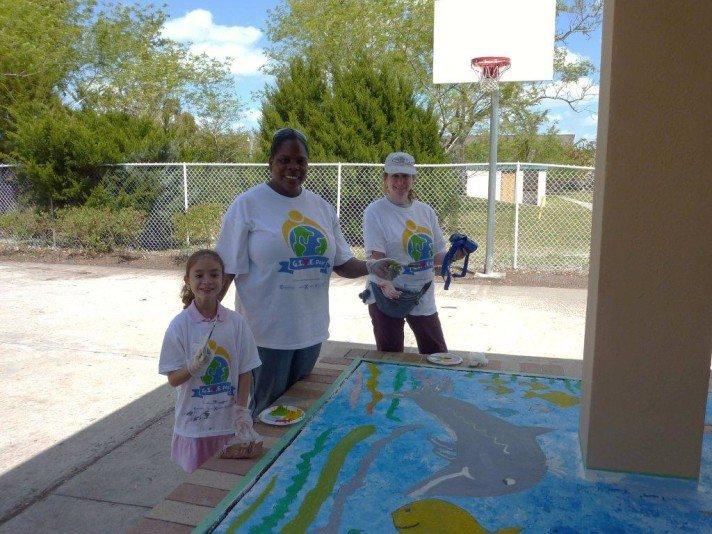 "Sharyn participating in Royal Caribbean ""Give Day"" painting a mural with Royal staff and next generation"